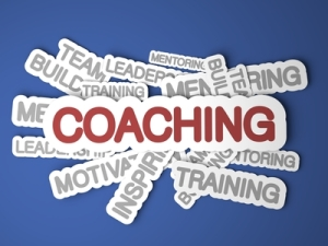 Coaching Concept on Blue Background. 3D Render.